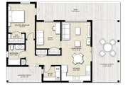 Modern Style House Plan - 2 Beds 1 Baths 880 Sq/Ft Plan #924-3 Floor Plan - Main Floor
