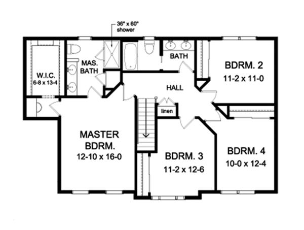 Colonial Floor Plan - Upper Floor Plan Plan #1010-160
