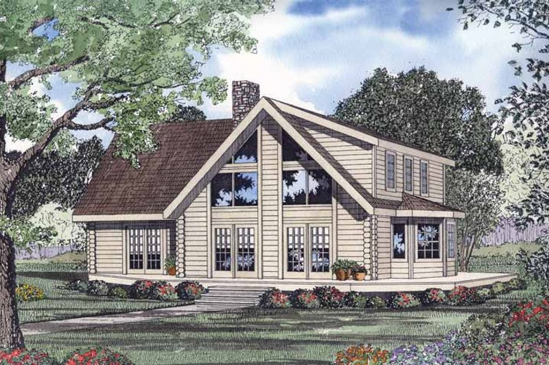 Log Exterior - Front Elevation Plan #17-2960