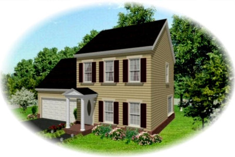 Colonial Style House Plan - 3 Beds 2.5 Baths 1250 Sq/Ft Plan #81-13845 Exterior - Front Elevation