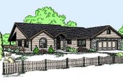 Ranch Style House Plan - 3 Beds 2.5 Baths 1613 Sq/Ft Plan #60-574 Exterior - Front Elevation