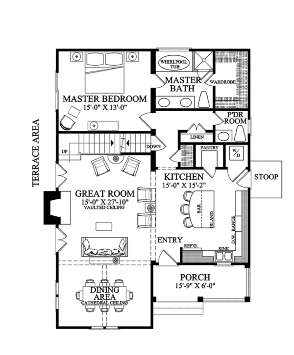 Craftsman Floor Plan - Main Floor Plan Plan #137-363