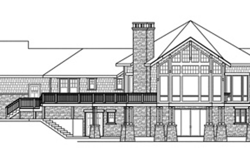 Craftsman Exterior - Rear Elevation Plan #124-848 - Houseplans.com