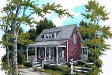 Cottage Exterior - Front Elevation Plan #45-317