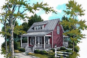 Cottage Exterior - Front Elevation Plan #45-317