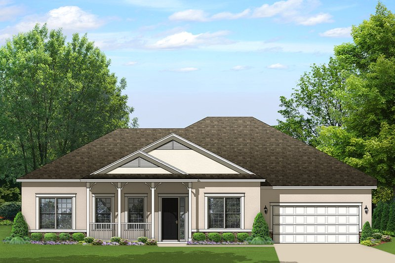 Ranch Exterior - Front Elevation Plan #1058-164