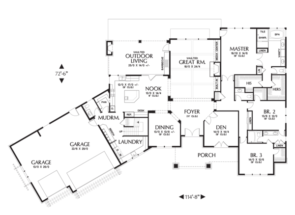 Craftsman Floor Plan - Main Floor Plan Plan #48-711
