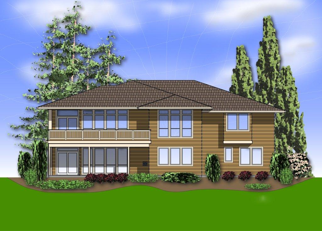 Prairie style house plan 4 beds 4 baths 3682 sq ft plan for Prairie house plan