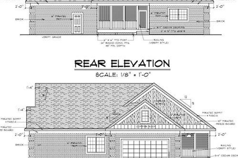 Traditional Exterior - Rear Elevation Plan #51-347 - Houseplans.com