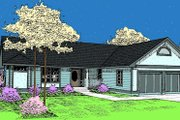 Traditional Style House Plan - 2 Beds 2 Baths 1428 Sq/Ft Plan #60-206 Exterior - Front Elevation
