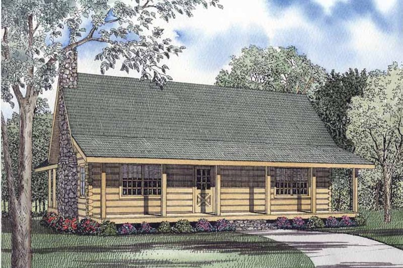 Log Exterior - Front Elevation Plan #17-2961
