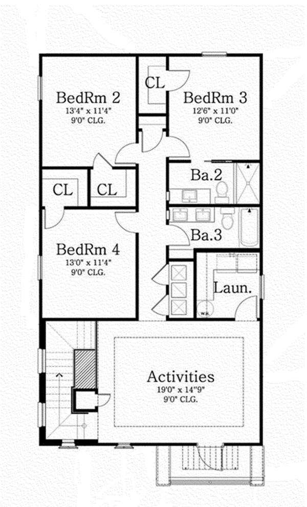 Mediterranean Floor Plan - Upper Floor Plan Plan #1058-78