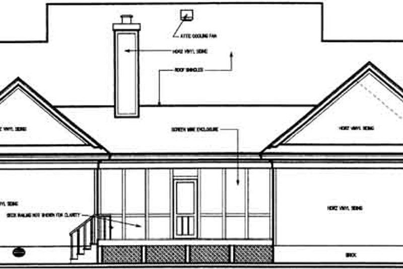 Country Exterior - Rear Elevation Plan #45-146 - Houseplans.com