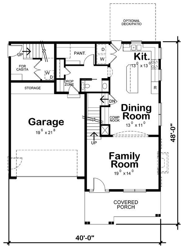 Home Plan - Craftsman Floor Plan - Main Floor Plan #20-2326