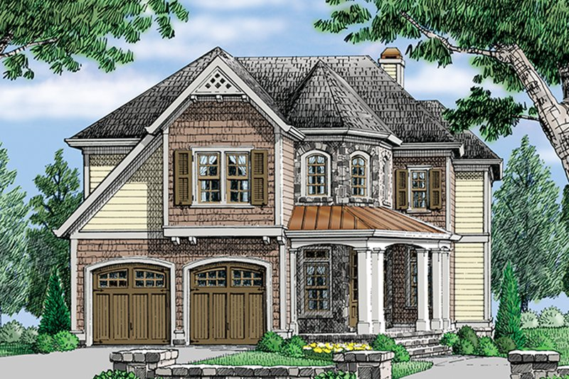 European Exterior - Front Elevation Plan #927-979