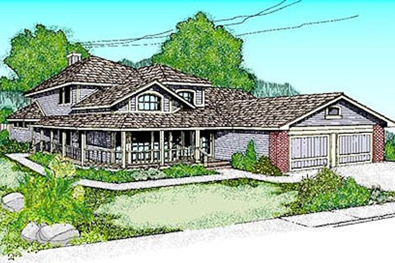 Traditional Style House Plan - 4 Beds 3.5 Baths 2577 Sq/Ft Plan #60-149 Exterior - Front Elevation