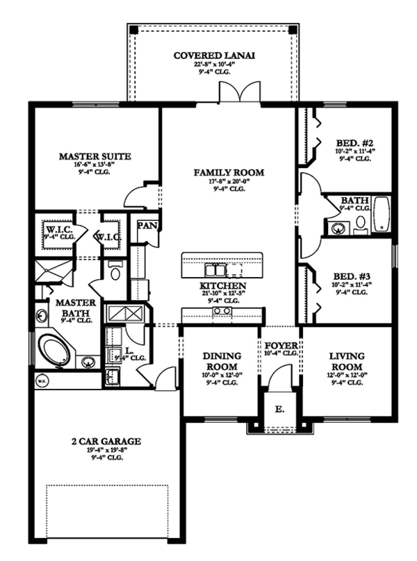 Mediterranean Floor Plan - Main Floor Plan Plan #1058-116