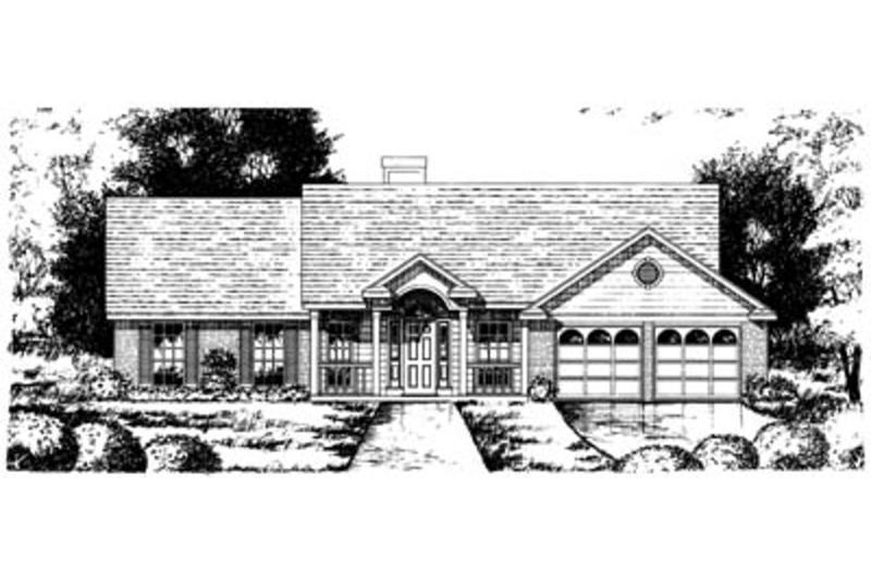 Southern Style House Plan - 4 Beds 2 Baths 1764 Sq/Ft Plan #40-250 Exterior - Front Elevation