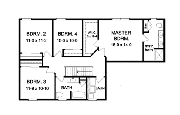Colonial Floor Plan - Upper Floor Plan Plan #1010-116