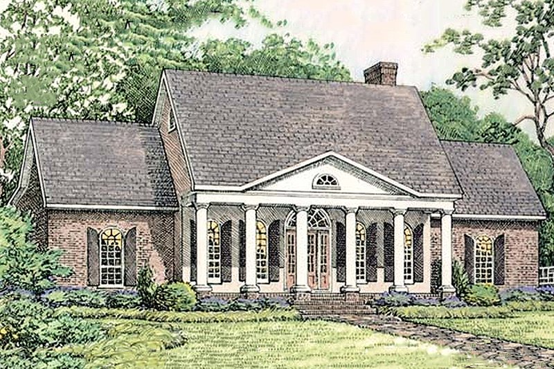 Home Plan - Southern colonial style home, elveation