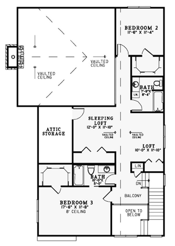 Craftsman Floor Plan - Upper Floor Plan Plan #17-3382