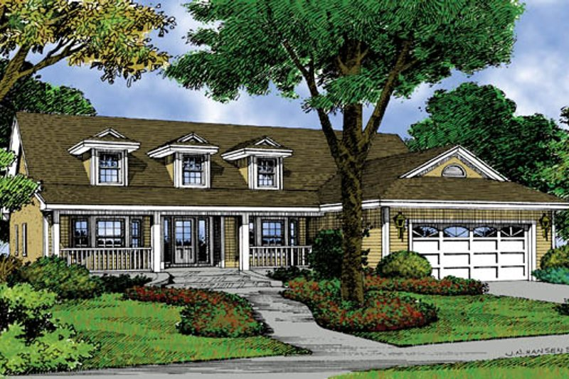 Country Exterior - Front Elevation Plan #417-671