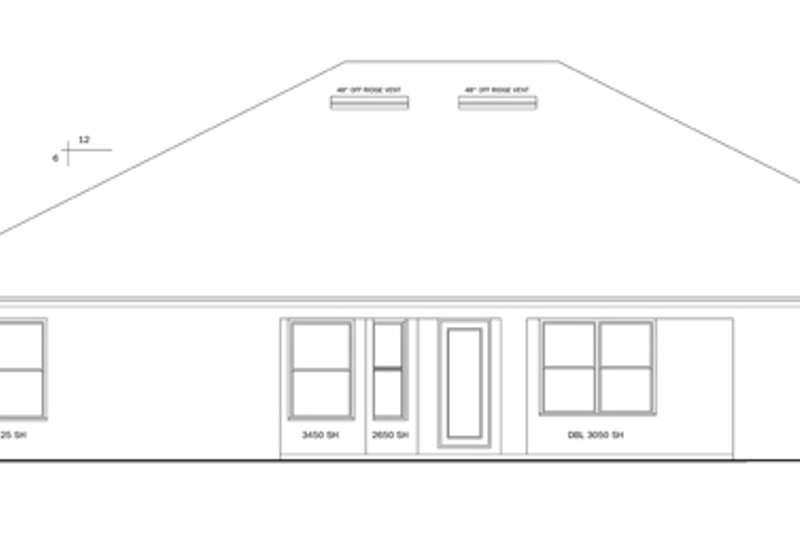 Ranch Exterior - Rear Elevation Plan #1058-28 - Houseplans.com