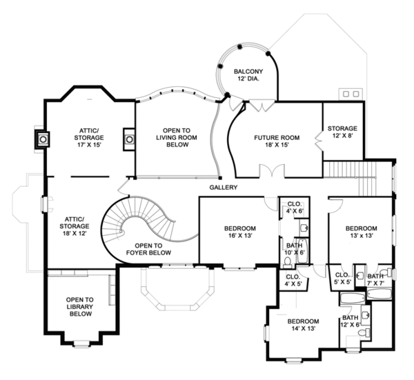 European Floor Plan - Upper Floor Plan Plan #119-421