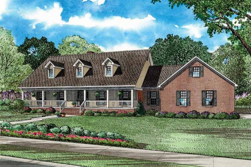 Architectural House Design - Country Exterior - Front Elevation Plan #17-2738