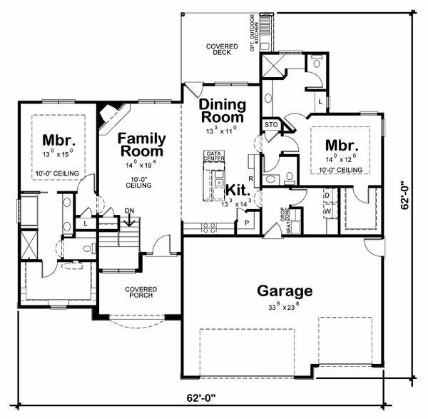 Traditional Floor Plan - Main Floor Plan Plan #20-2178