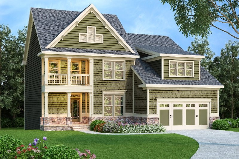 Craftsman Style House Plan - 4 Beds 3 Baths 2372 Sq/Ft Plan #419-218 Exterior - Front Elevation