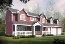 Colonial Exterior - Front Elevation Plan #1037-23