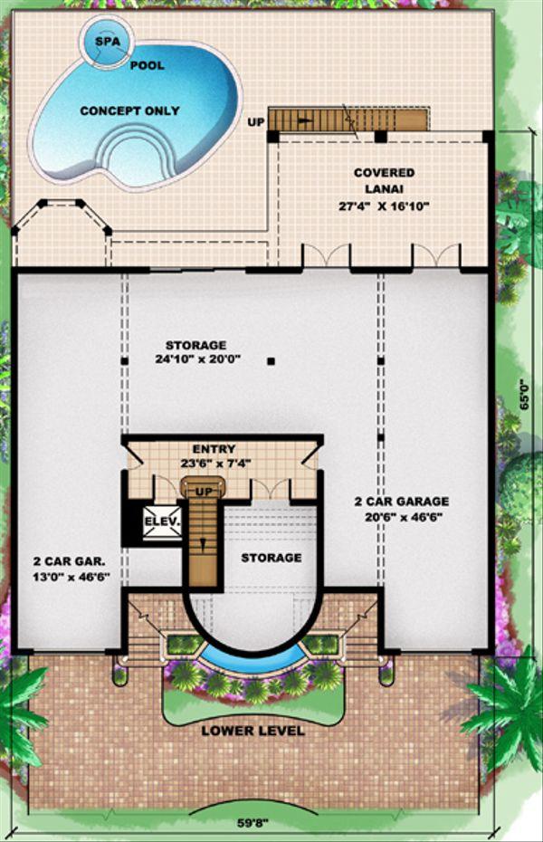 Mediterranean Floor Plan - Lower Floor Plan Plan #27-433
