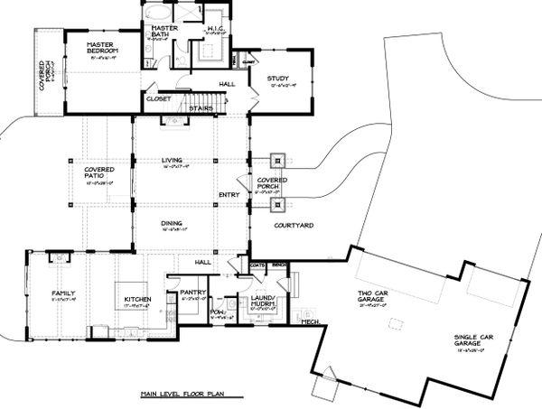 Craftsman Style House Plan - 3 Beds 2.5 Baths 3266 Sq/Ft Plan #895-33 Floor Plan - Main Floor Plan