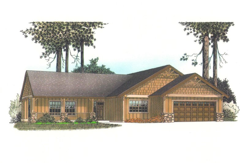 Craftsman Exterior - Front Elevation Plan #53-581