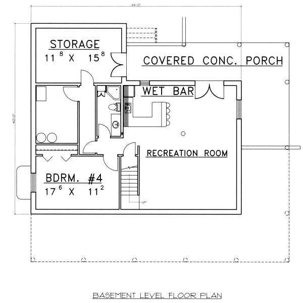 Log Floor Plan - Lower Floor Plan Plan #117-555