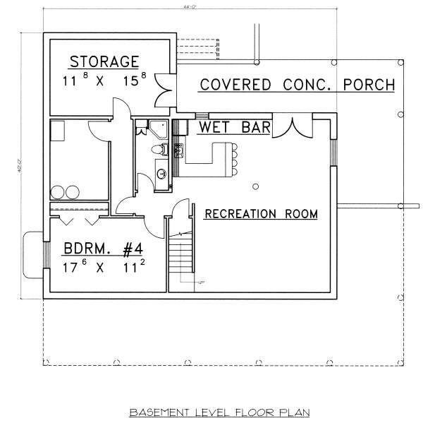 Log Floor Plan - Lower Floor Plan Plan #117-555