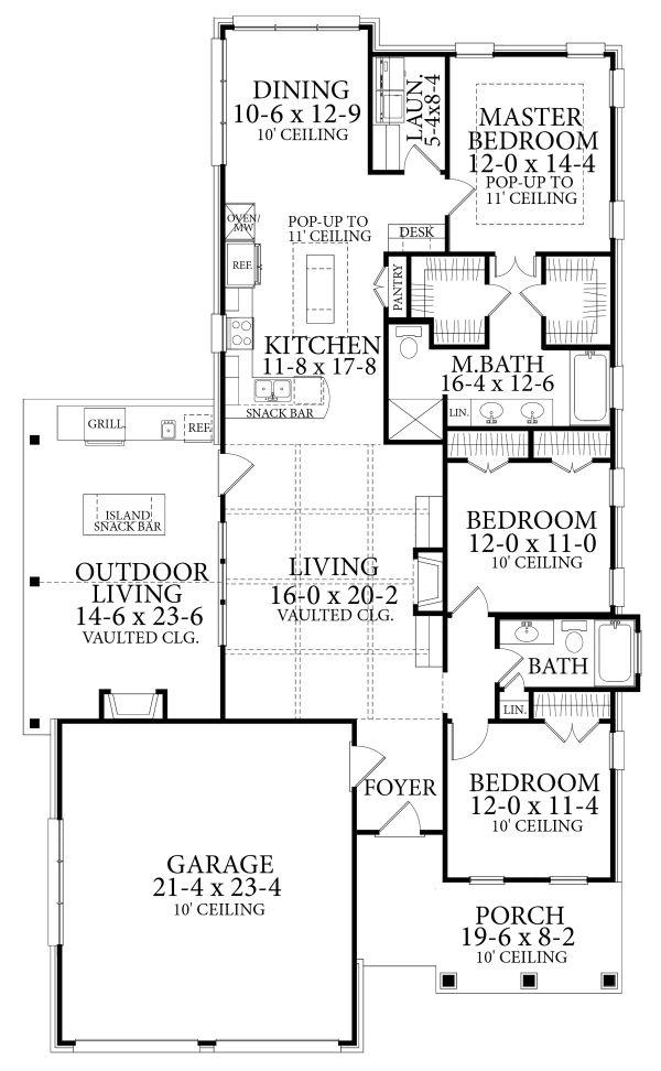 Cottage Floor Plan - Main Floor Plan Plan #406-9660