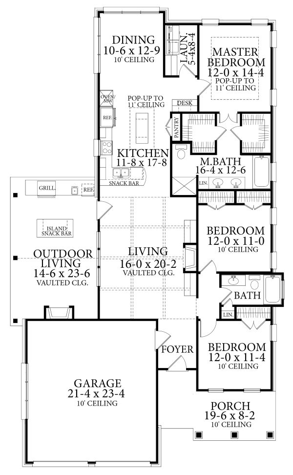 Cottage Floor Plan - Main Floor Plan Plan #406-9660