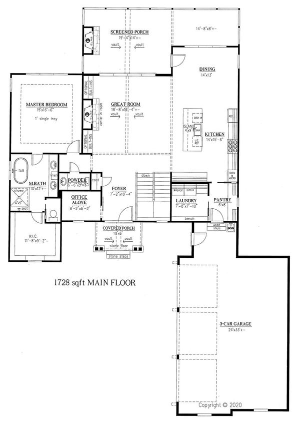 Craftsman Floor Plan - Main Floor Plan Plan #437-123