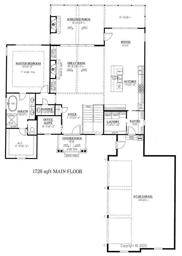Dream House Plan - Craftsman Floor Plan - Main Floor Plan #437-123