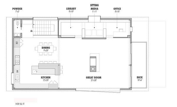 Modern Floor Plan - Upper Floor Plan Plan #469-1