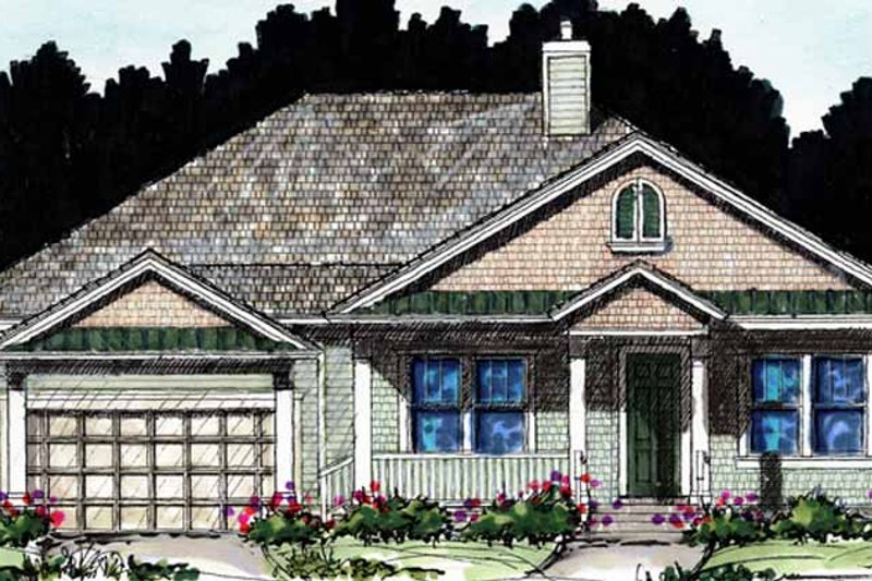 Craftsman Exterior - Front Elevation Plan #1007-61