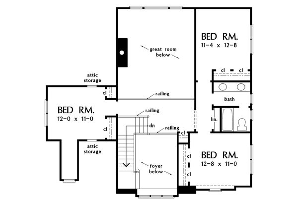 Country Floor Plan - Upper Floor Plan Plan #929-19