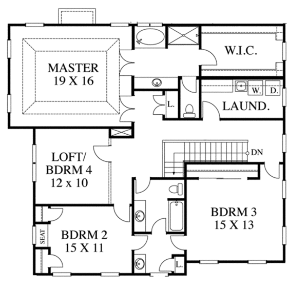 Traditional Floor Plan - Upper Floor Plan Plan #1053-52