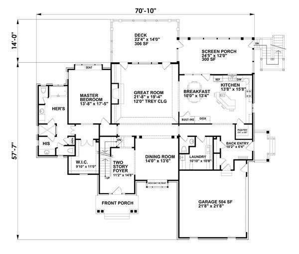 House Plan Design - Traditional Floor Plan - Main Floor Plan #30-345