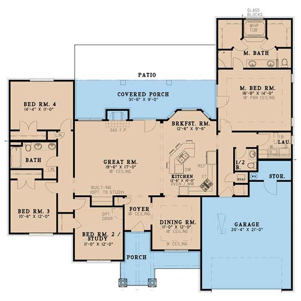 House Plan Design - Ranch Floor Plan - Main Floor Plan #17-3396