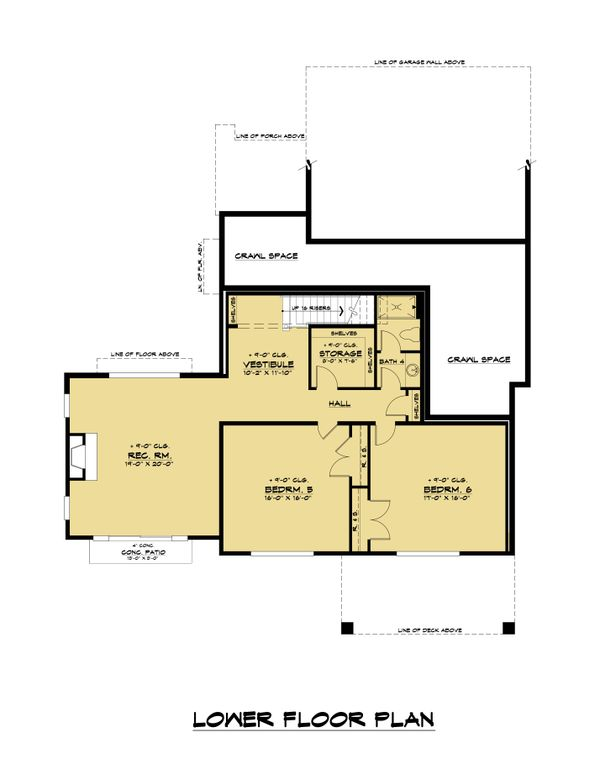 Contemporary Floor Plan - Lower Floor Plan #1066-117