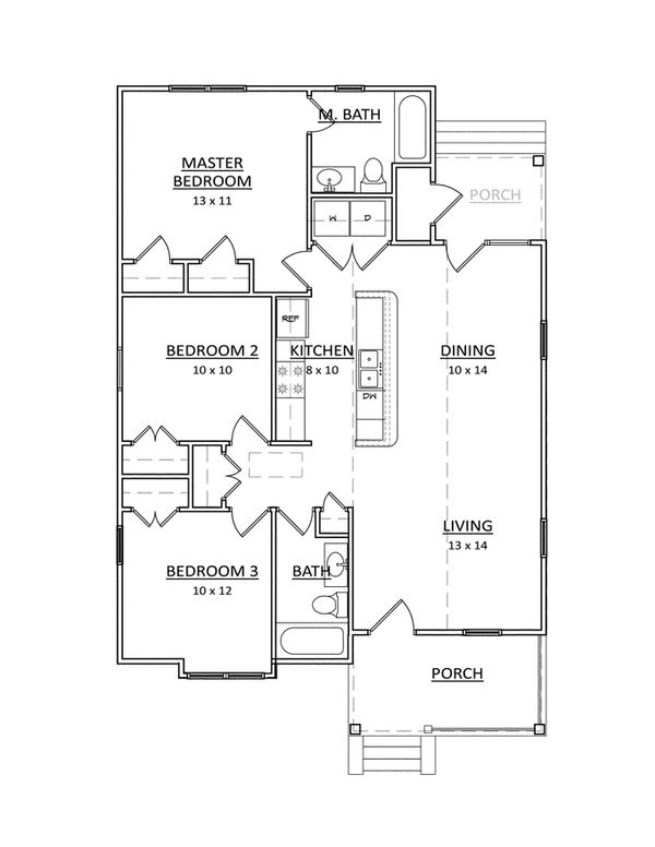 Craftsman Floor Plan - Main Floor Plan Plan #936-16