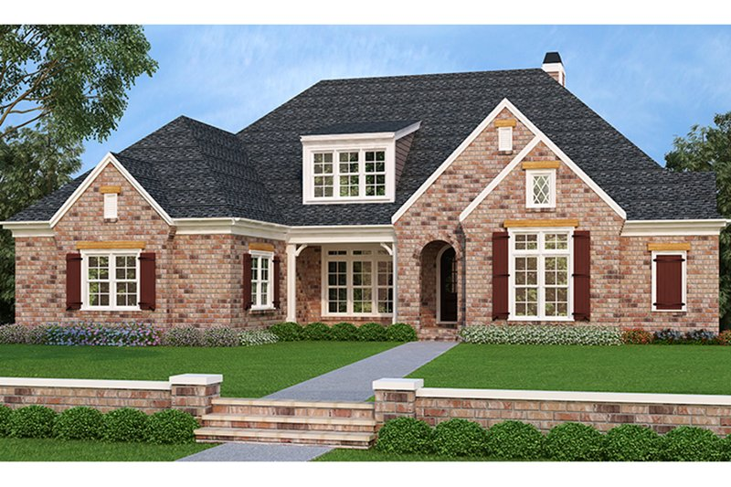 European Style House Plan - 4 Beds 4 Baths 3795 Sq/Ft Plan #927-400 Exterior - Front Elevation